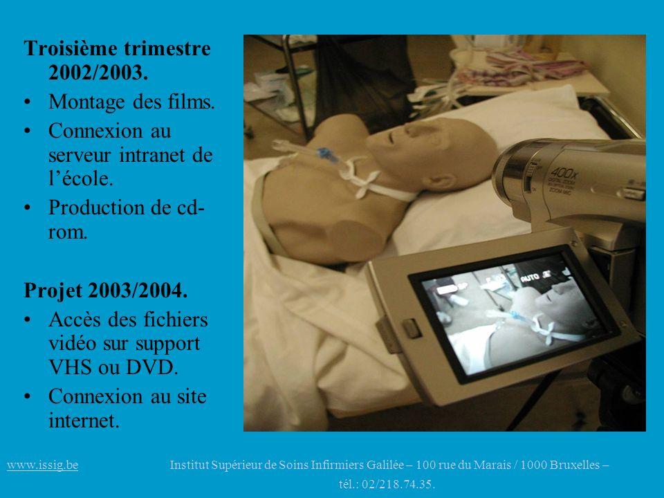 Troisième trimestre 2002/2003. Montage des films. Connexion au serveur intranet de lécole. Production de cd- rom. Projet 2003/2004. Accès des fichiers