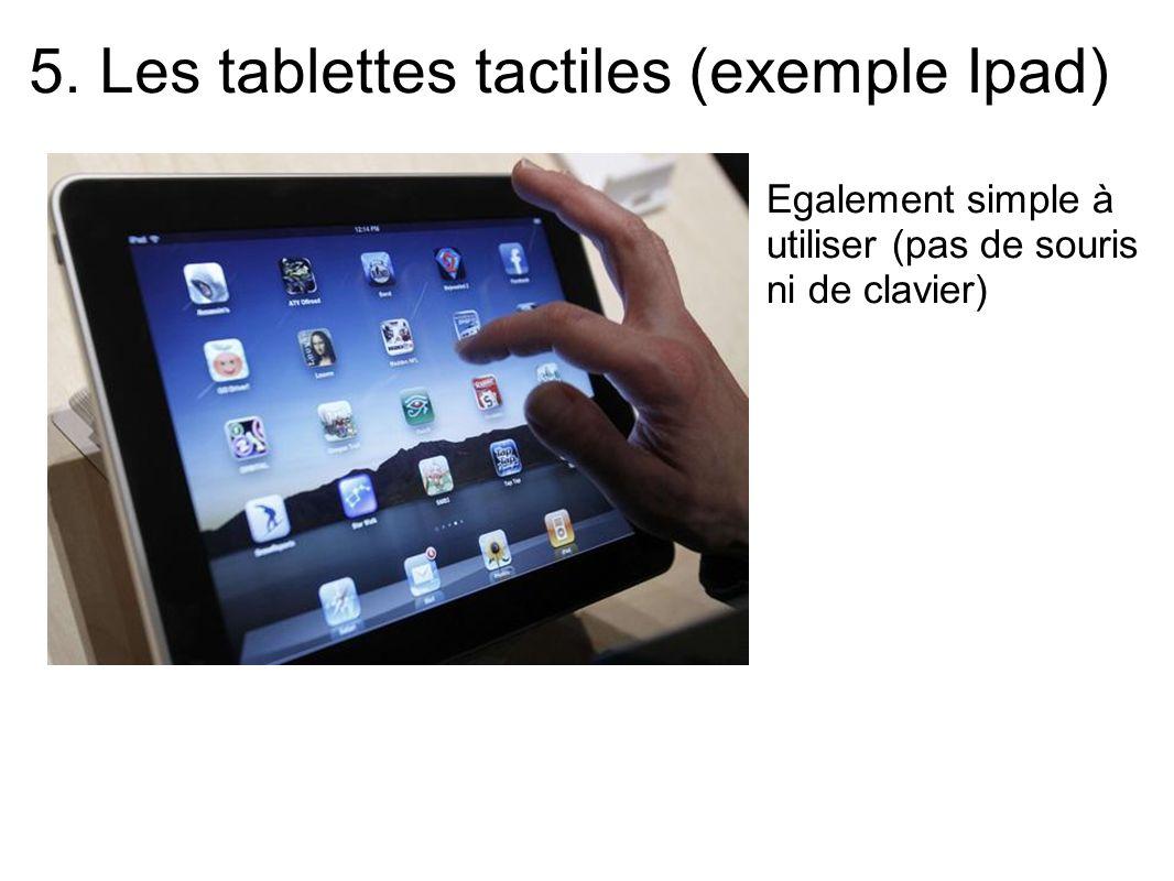 5. Les tablettes tactiles (exemple Ipad) Egalement simple à utiliser (pas de souris ni de clavier)