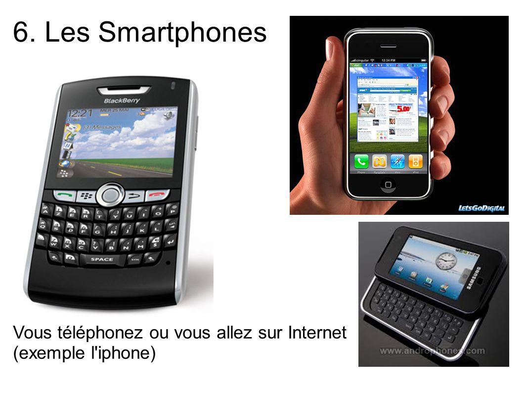 6. Les Smartphones Vous téléphonez ou vous allez sur Internet (exemple l'iphone)