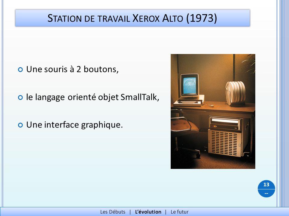-- Une souris à 2 boutons, le langage orienté objet SmallTalk, Une interface graphique. S TATION DE TRAVAIL X EROX A LTO (1973) 13 Les Débuts   Lévolu
