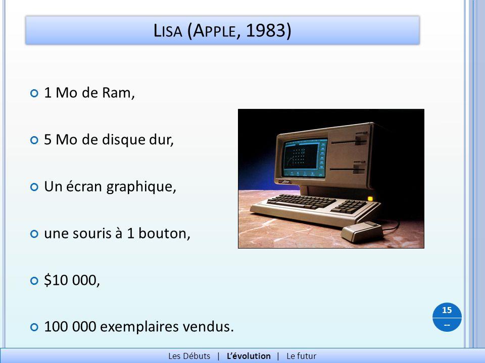 -- L ISA (A PPLE, 1983) 15 Les Débuts   Lévolution   Le futur 1 Mo de Ram, 5 Mo de disque dur, Un écran graphique, une souris à 1 bouton, $10 000, 100