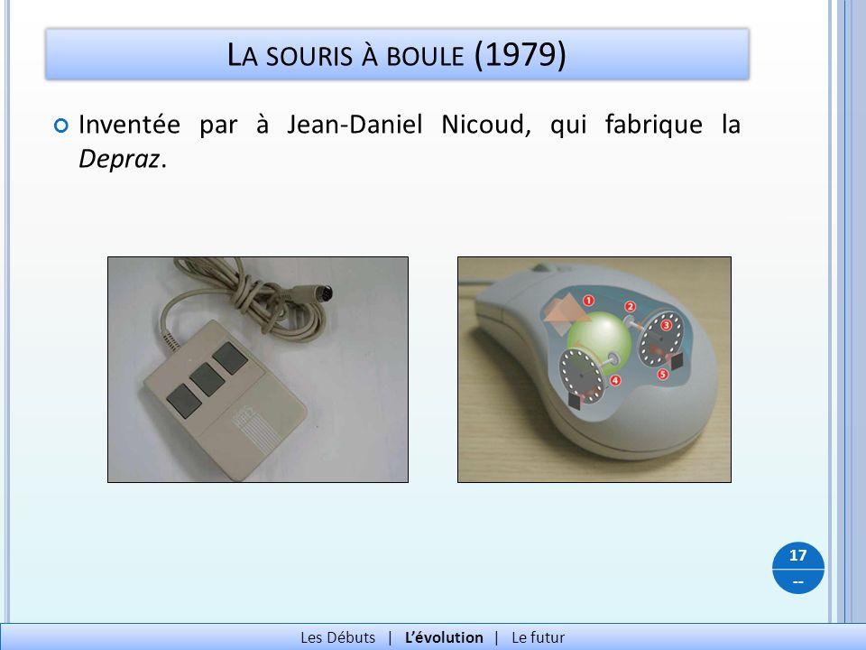 -- L A SOURIS À BOULE (1979) Inventée par à Jean-Daniel Nicoud, qui fabrique la Depraz. 17 Les Débuts   Lévolution   Le futur