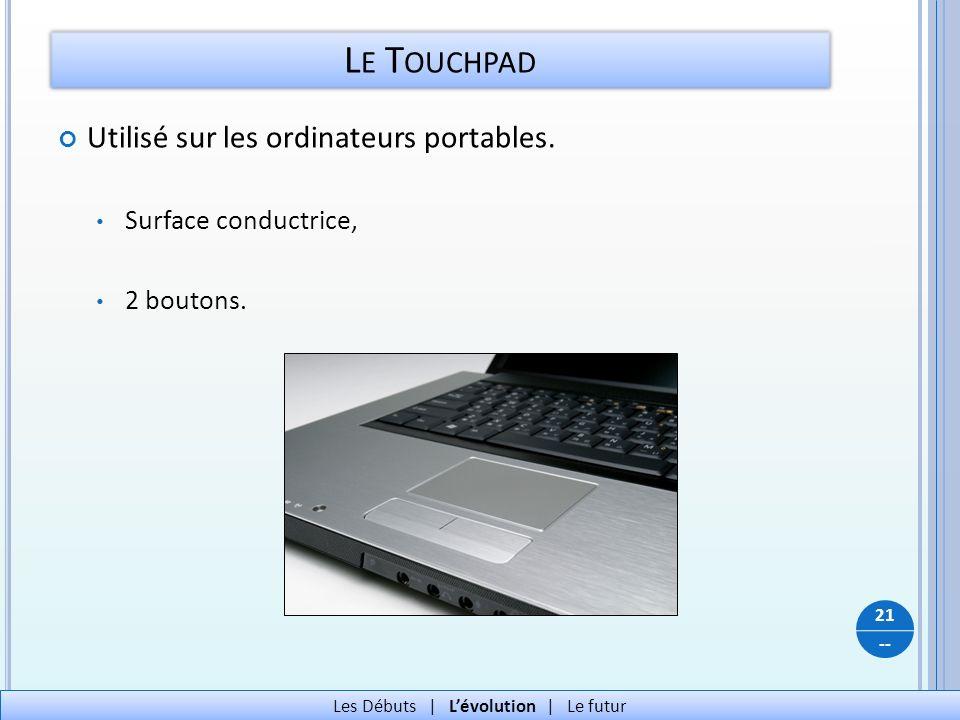 -- L E T OUCHPAD Utilisé sur les ordinateurs portables. Surface conductrice, 2 boutons. 21 Les Débuts   Lévolution   Le futur