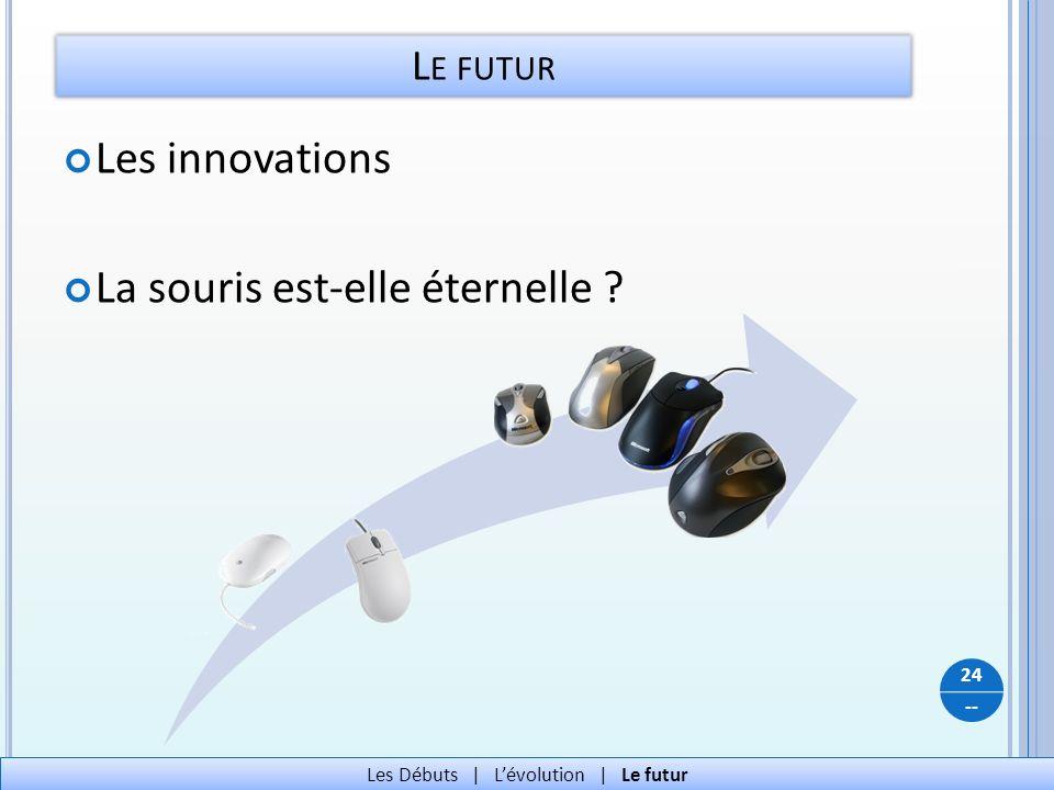 -- L E FUTUR 24 Les Débuts   Lévolution   Le futur Les innovations La souris est-elle éternelle ?