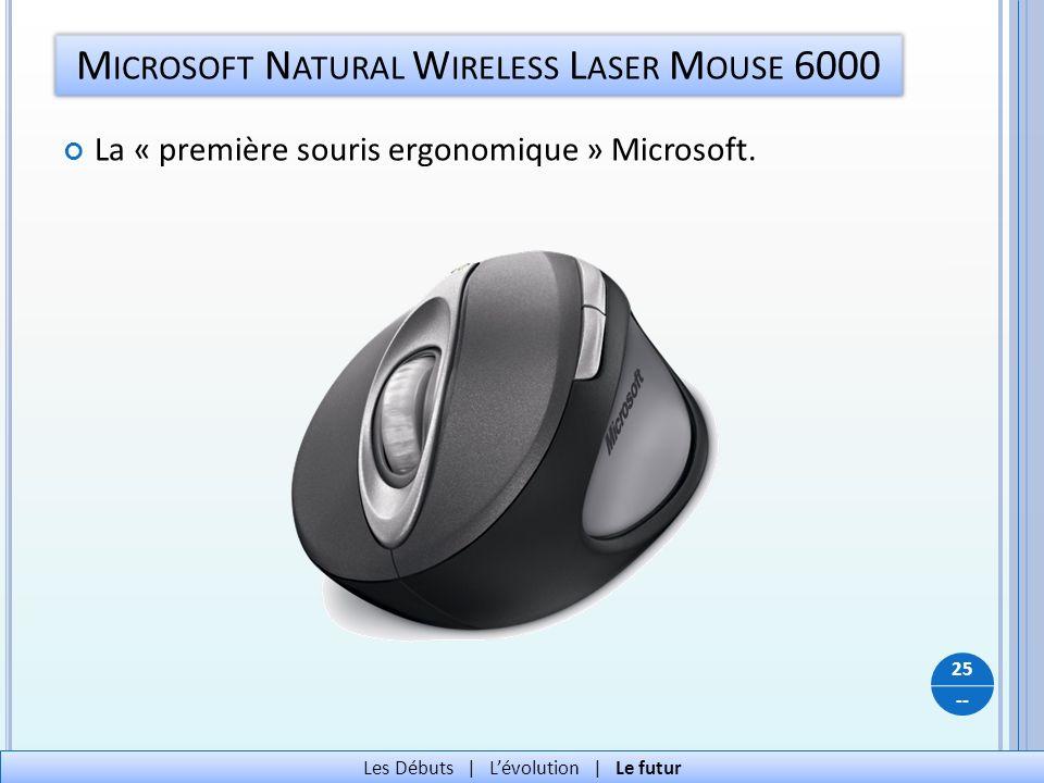-- M ICROSOFT N ATURAL W IRELESS L ASER M OUSE 6000 25 Les Débuts   Lévolution   Le futur La « première souris ergonomique » Microsoft.