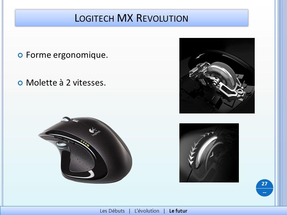 -- L OGITECH MX R EVOLUTION 27 Les Débuts   Lévolution   Le futur Forme ergonomique. Molette à 2 vitesses.