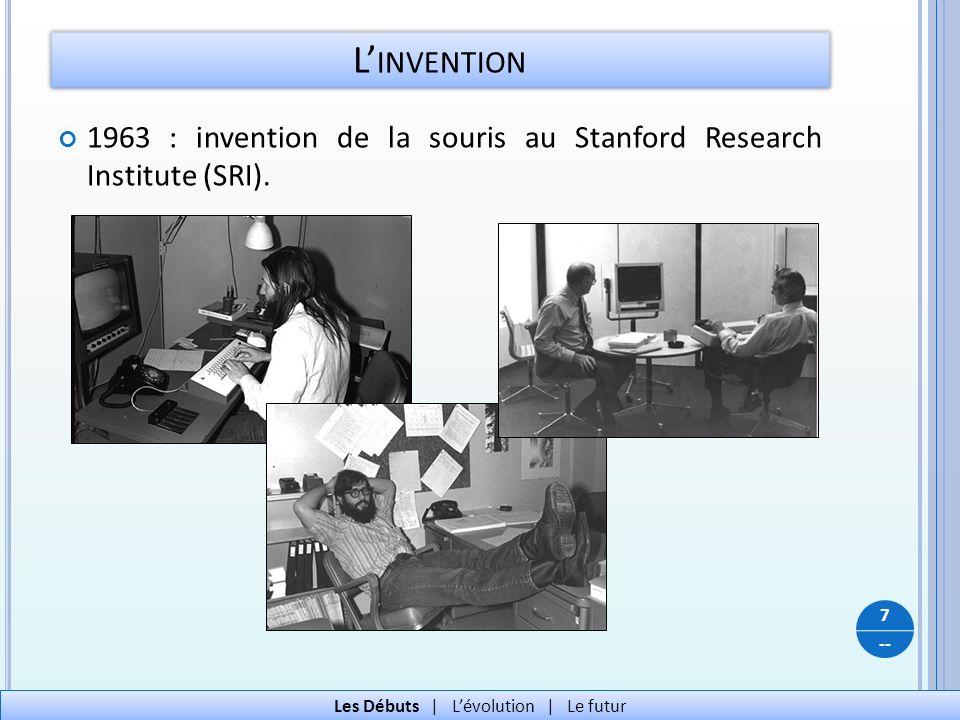 -- 1963 : invention de la souris au Stanford Research Institute (SRI). L INVENTION 7 Les Débuts   Lévolution   Le futur