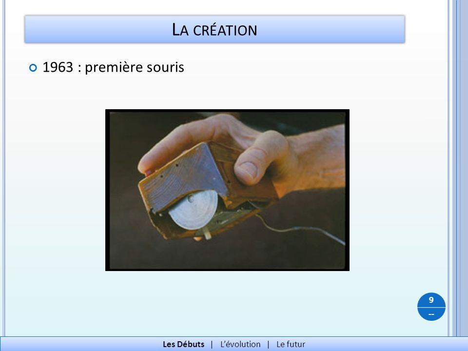 -- 1963 : première souris L A CRÉATION 9 Les Débuts   Lévolution   Le futur