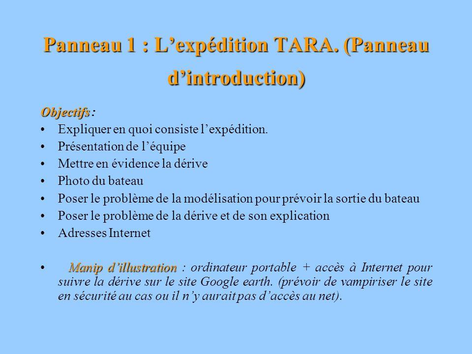 Panneau 1 : Lexpédition TARA. (Panneau dintroduction) Objectifs Objectifs : Expliquer en quoi consiste lexpédition. Présentation de léquipe Mettre en