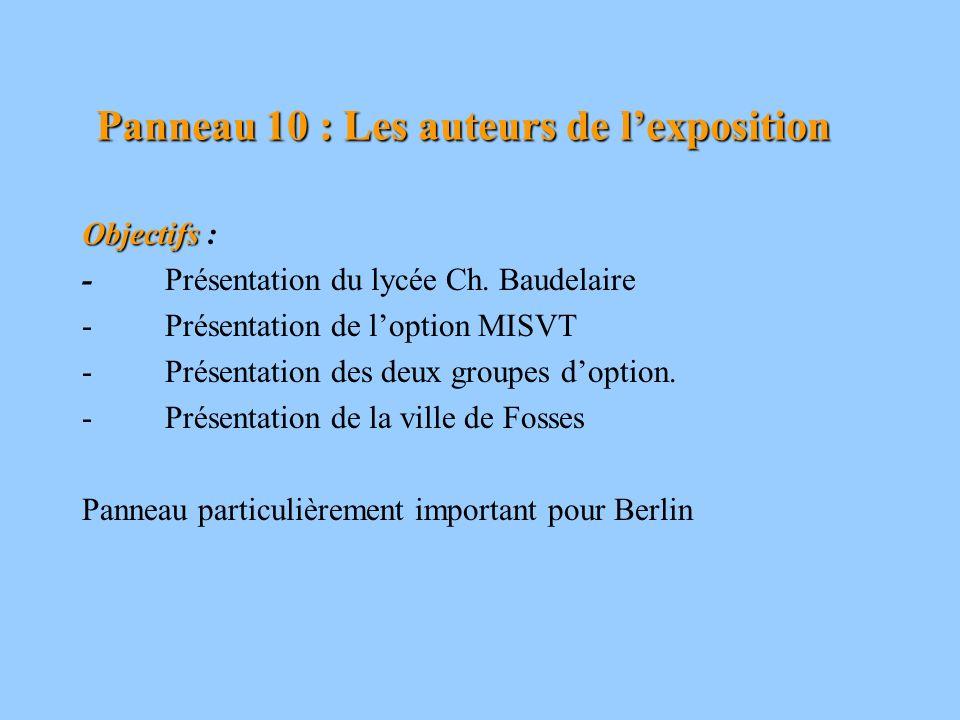 Panneau 10 : Les auteurs de lexposition Objectifs Objectifs : - Présentation du lycée Ch. Baudelaire - Présentation de loption MISVT - Présentation de