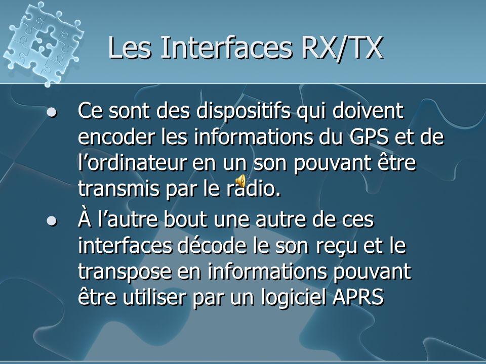 Les Interfaces RX/TX Ce sont des dispositifs qui doivent encoder les informations du GPS et de lordinateur en un son pouvant être transmis par le radi