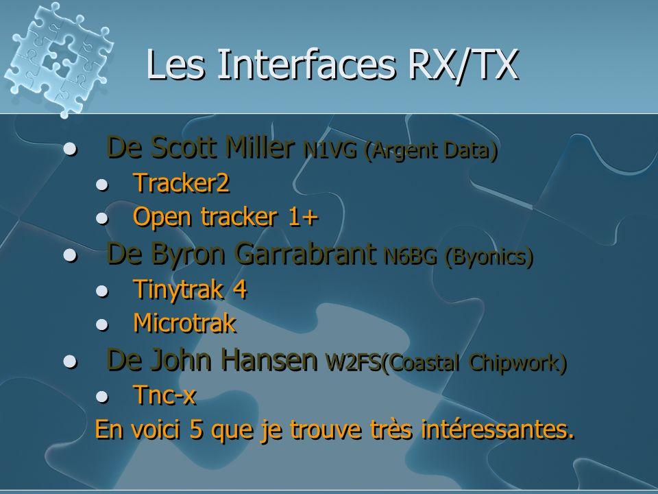 Les Interfaces RX/TX De Scott Miller N1VG (Argent Data) Tracker2 Open tracker 1+ De Byron Garrabrant N6BG (Byonics) Tinytrak 4 Microtrak De John Hanse