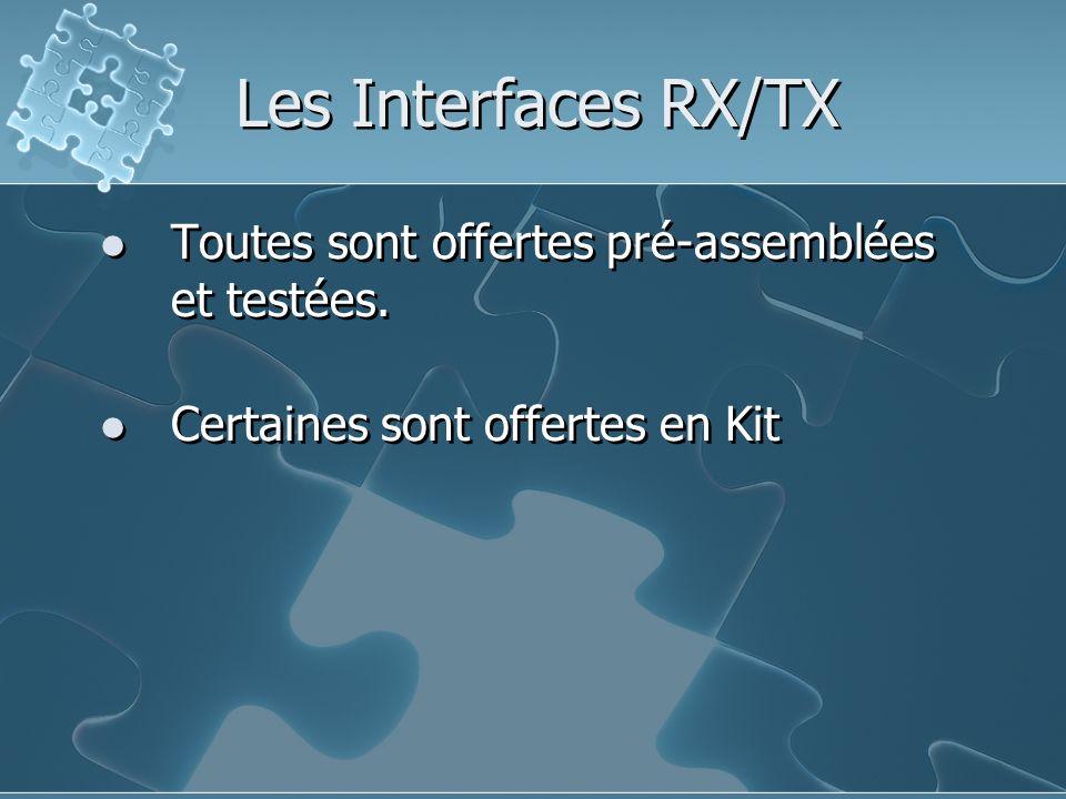 Les Interfaces RX/TX Toutes sont offertes pré-assemblées et testées. Certaines sont offertes en Kit Toutes sont offertes pré-assemblées et testées. Ce