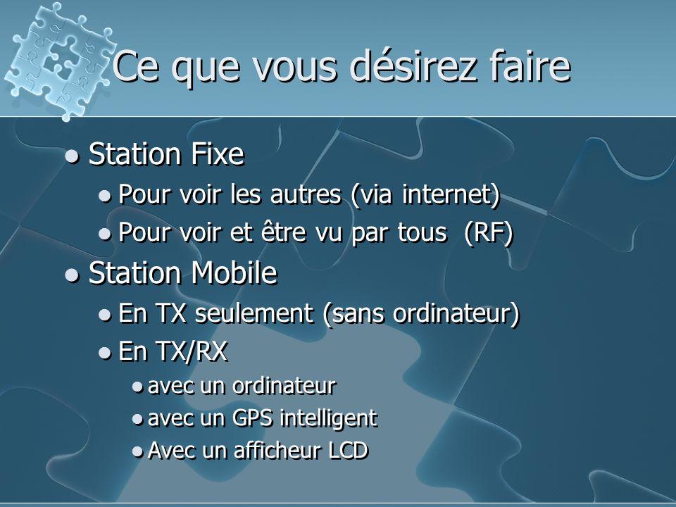Ce que vous désirez faire Station Fixe Pour voir les autres (via internet) Pour voir et être vu par tous (RF) Station Mobile En TX seulement (sans ord