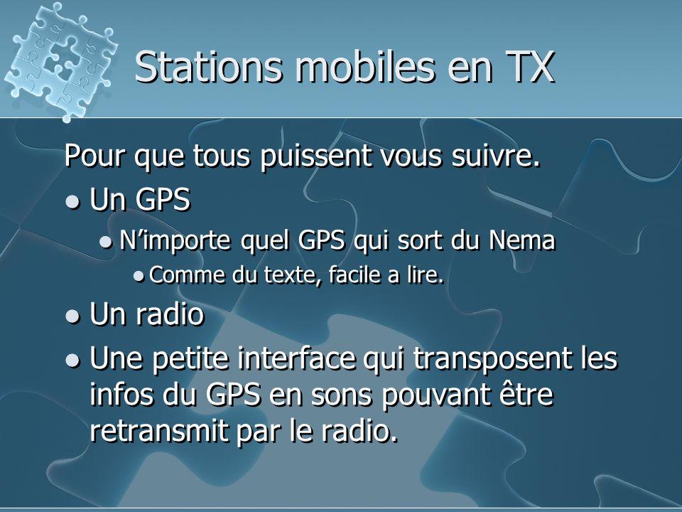 Stations mobiles en TX Pour que tous puissent vous suivre. Un GPS Nimporte quel GPS qui sort du Nema Comme du texte, facile a lire. Un radio Une petit