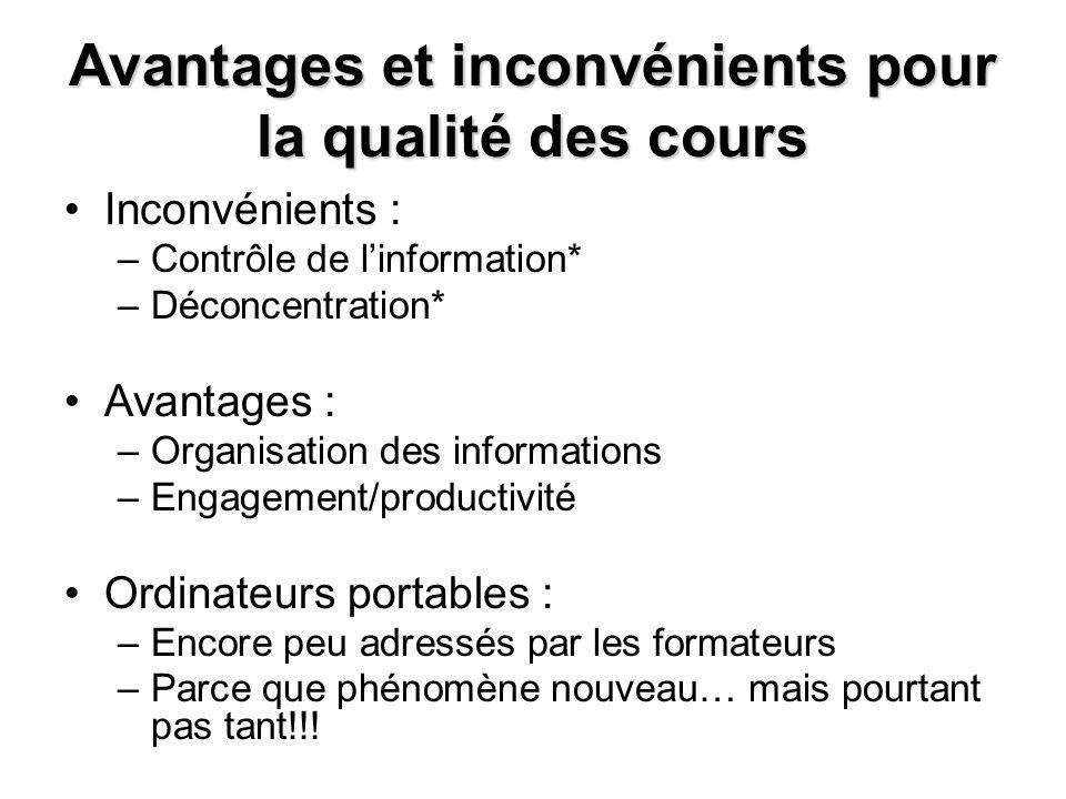 Avantages et inconvénients pour la qualité des cours Inconvénients : –Contrôle de linformation* –Déconcentration* Avantages : –Organisation des inform