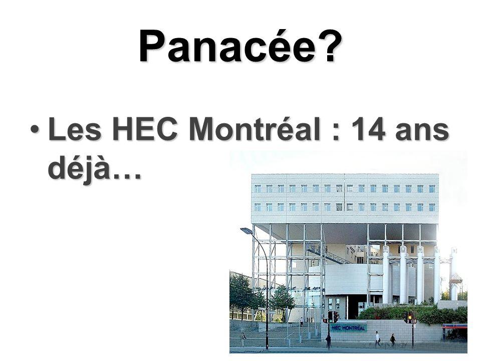 Panacée? Les HEC Montréal : 14 ans déjà…Les HEC Montréal : 14 ans déjà…