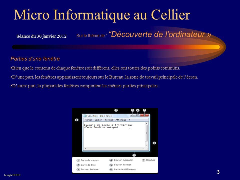 4 Micro Informatique au Cellier Séance du 30 janvier 2012 Barre de titre : Affiche le nom du document et du programme (ou le nom du dossier si vous travaillez dans un dossier).