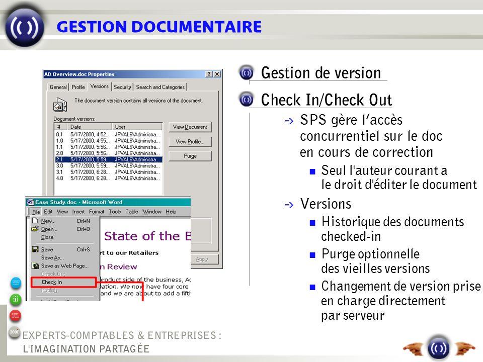 GESTION DOCUMENTAIRE Gestion de version Check In/Check Out é SPS gère laccès concurrentiel sur le doc en cours de correction Seul l'auteur courant a l