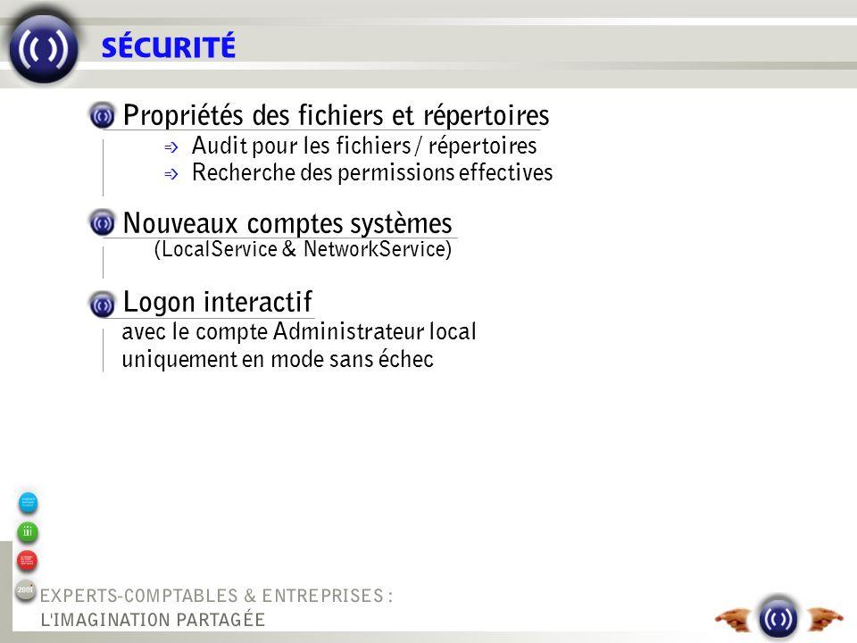 SÉCURITÉ Propriétés des fichiers et répertoires é Audit pour les fichiers / répertoires é Recherche des permissions effectives Nouveaux comptes systèm