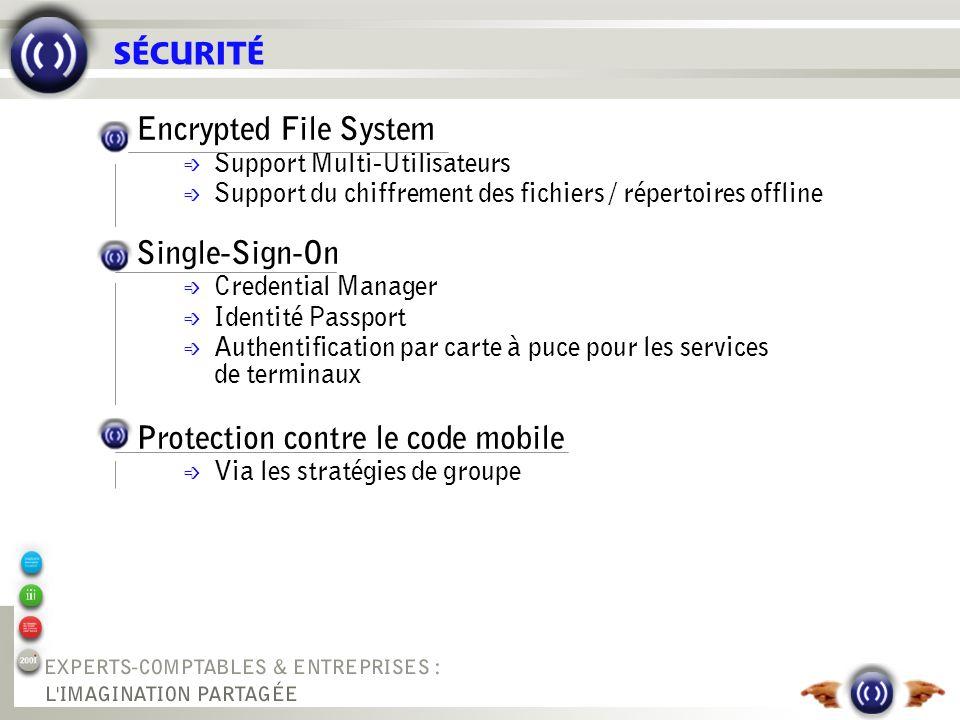 SÉCURITÉ Encrypted File System é Support Multi-Utilisateurs é Support du chiffrement des fichiers / répertoires offline Single-Sign-On é Credential Ma
