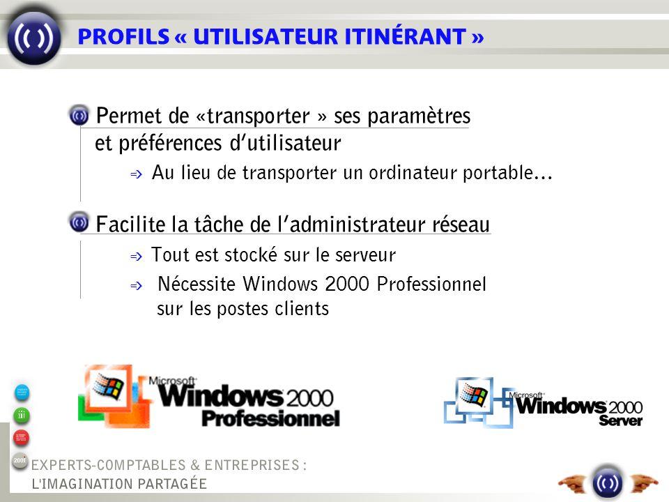 PROFILS « UTILISATEUR ITINÉRANT » Permet de «transporter » ses paramètres et préférences dutilisateur é Au lieu de transporter un ordinateur portable…