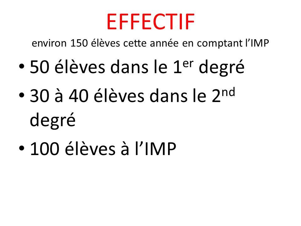 EFFECTIF environ 150 élèves cette année en comptant lIMP 50 élèves dans le 1 er degré 30 à 40 élèves dans le 2 nd degré 100 élèves à lIMP