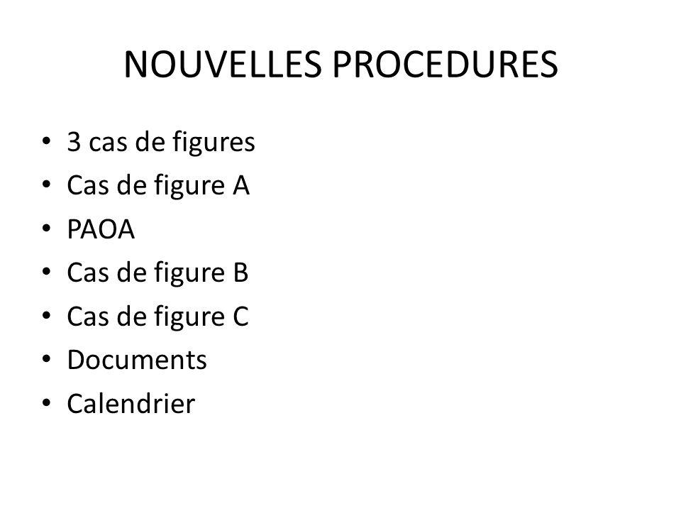 NOUVELLES PROCEDURES 3 cas de figures Cas de figure A PAOA Cas de figure B Cas de figure C Documents Calendrier