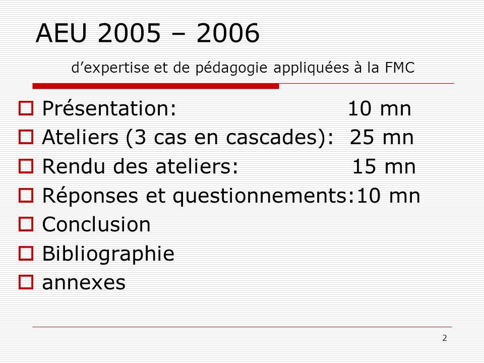 2 AEU 2005 – 2006 dexpertise et de pédagogie appliquées à la FMC Présentation: 10 mn Ateliers (3 cas en cascades): 25 mn Rendu des ateliers: 15 mn Réponses et questionnements:10 mn Conclusion Bibliographie annexes