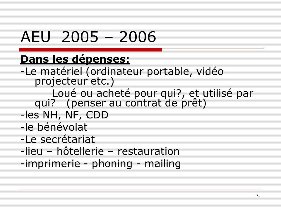 9 AEU 2005 – 2006 Dans les dépenses: -Le matériel (ordinateur portable, vidéo projecteur etc.) Loué ou acheté pour qui?, et utilisé par qui.