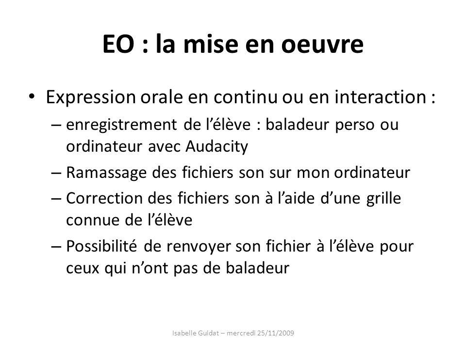 EO : la mise en oeuvre Expression orale en continu ou en interaction : – enregistrement de lélève : baladeur perso ou ordinateur avec Audacity – Ramas