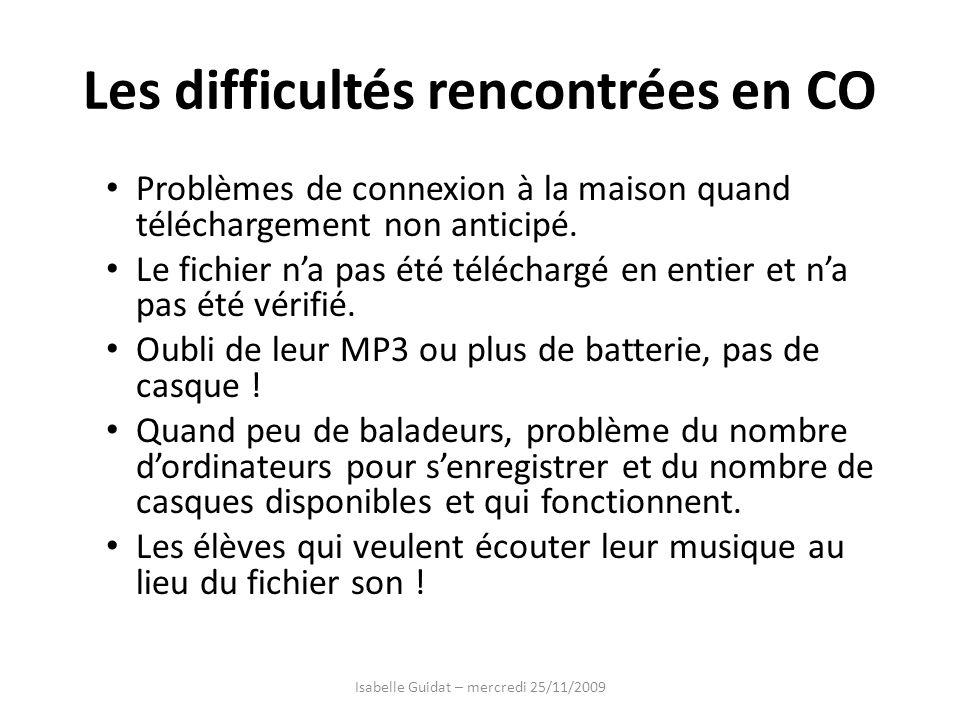 Les difficultés rencontrées en CO Problèmes de connexion à la maison quand téléchargement non anticipé. Le fichier na pas été téléchargé en entier et
