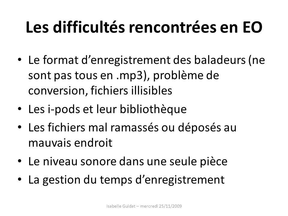 Les difficultés rencontrées en EO Le format denregistrement des baladeurs (ne sont pas tous en.mp3), problème de conversion, fichiers illisibles Les i