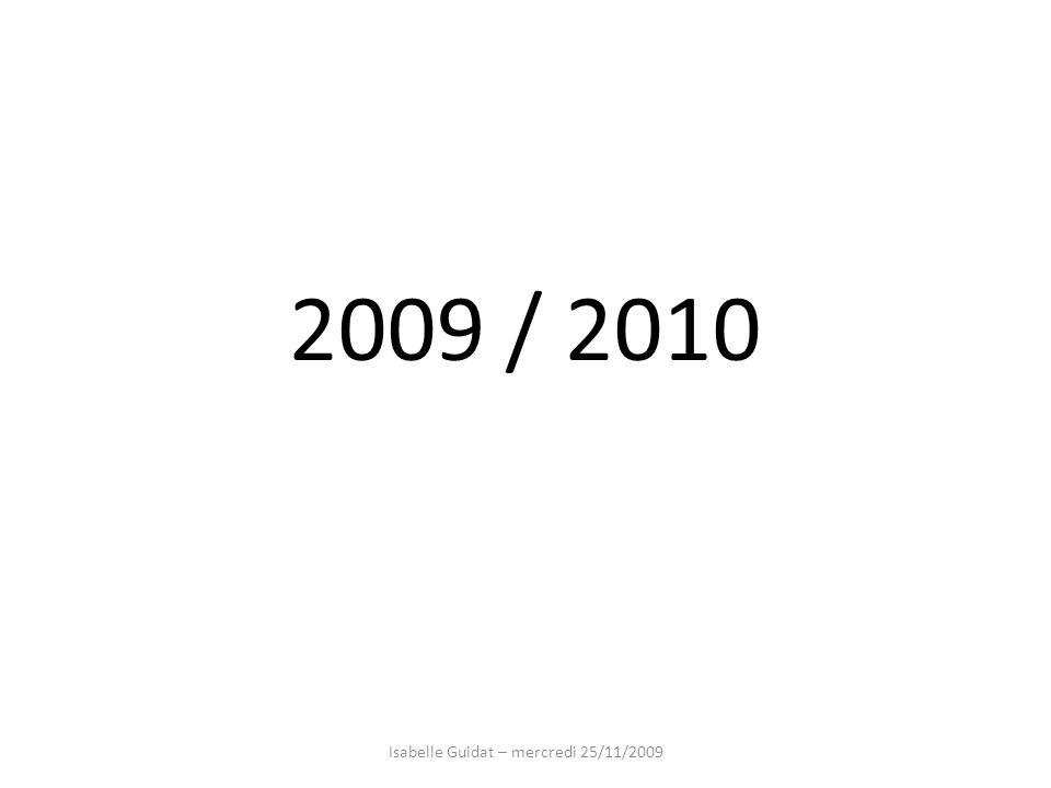2009 / 2010 Isabelle Guidat – mercredi 25/11/2009