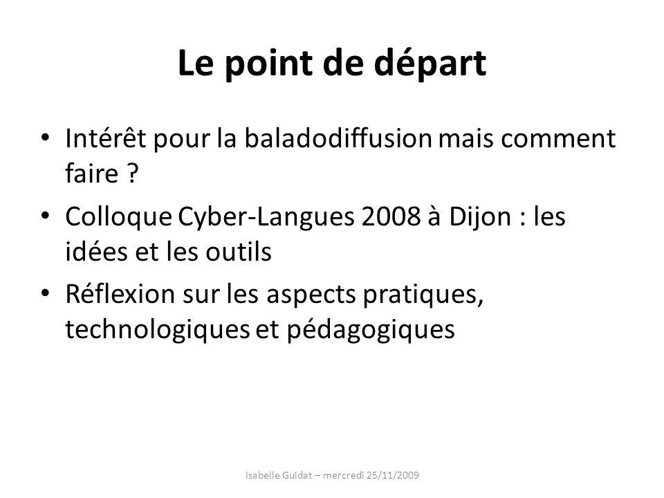 Le point de départ Intérêt pour la baladodiffusion mais comment faire ? Colloque Cyber-Langues 2008 à Dijon : les idées et les outils Réflexion sur le