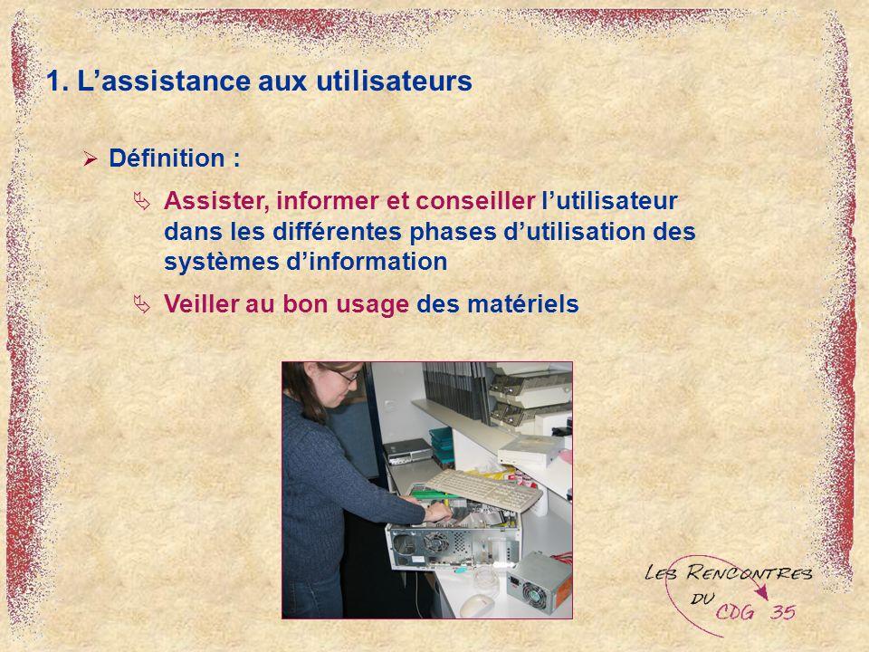 1. Lassistance aux utilisateurs Définition : Assister, informer et conseiller lutilisateur dans les différentes phases dutilisation des systèmes dinfo