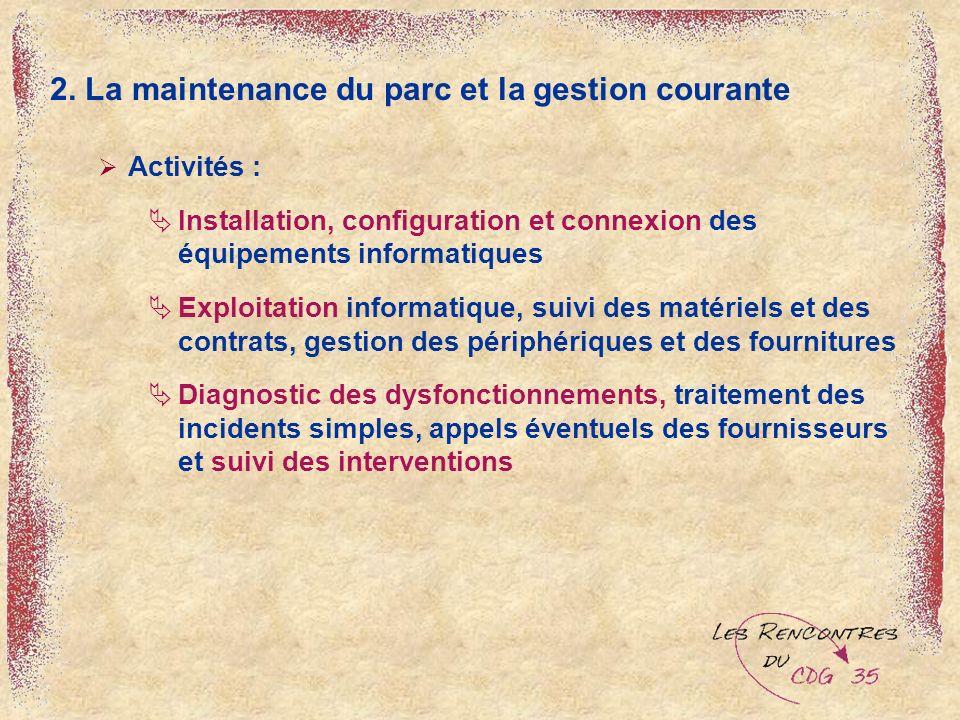 2. La maintenance du parc et la gestion courante Activités : Installation, configuration et connexion des équipements informatiques Exploitation infor