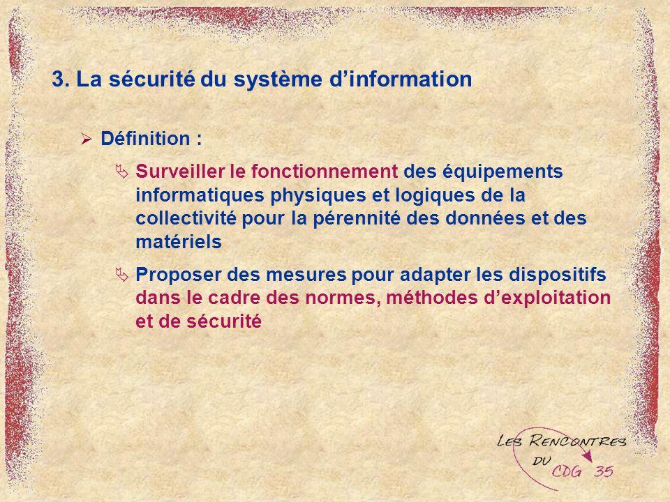 3. La sécurité du système dinformation Définition : Surveiller le fonctionnement des équipements informatiques physiques et logiques de la collectivit
