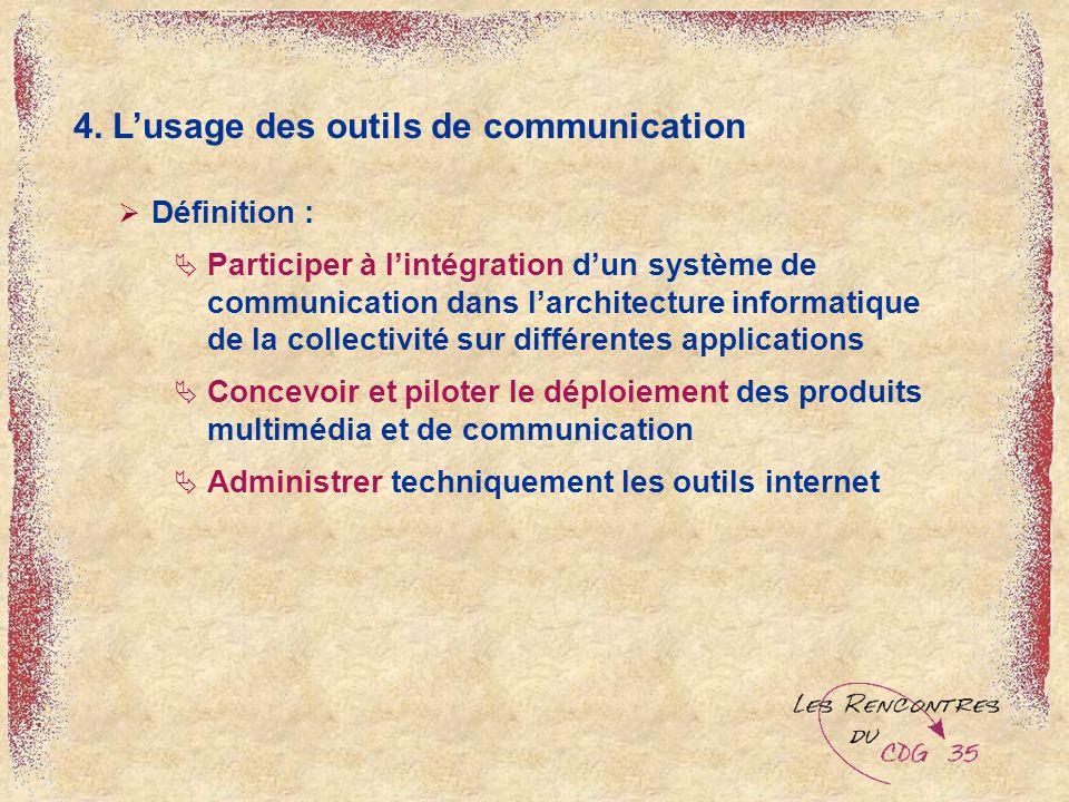 4. Lusage des outils de communication Définition : Participer à lintégration dun système de communication dans larchitecture informatique de la collec