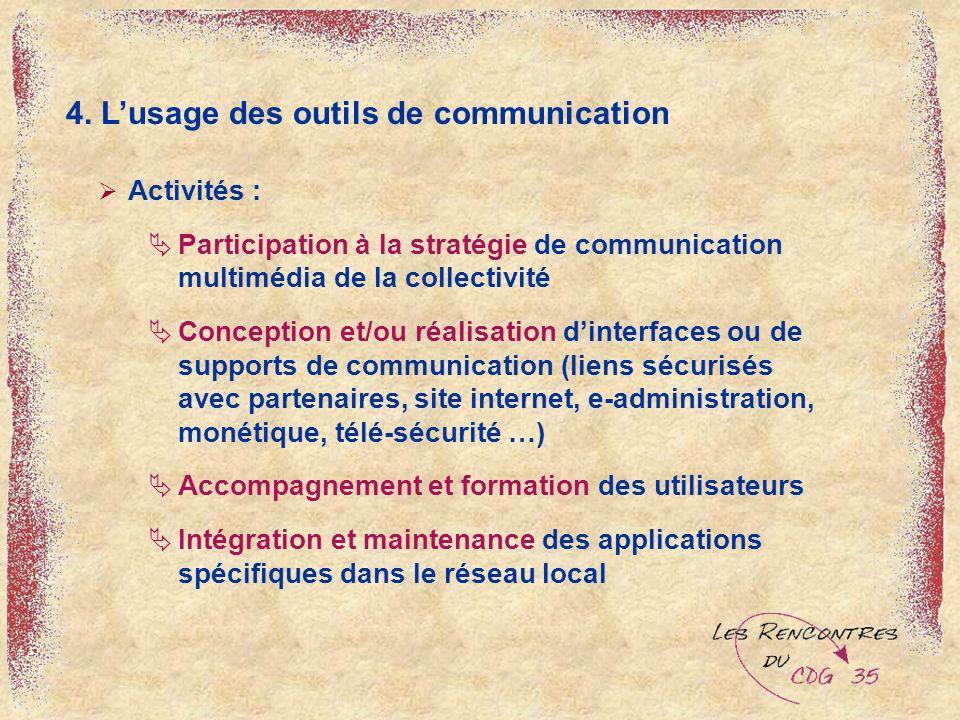 4. Lusage des outils de communication Activités : Participation à la stratégie de communication multimédia de la collectivité Conception et/ou réalisa