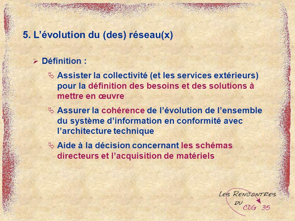 5. Lévolution du (des) réseau(x) Définition : Assister la collectivité (et les services extérieurs) pour la définition des besoins et des solutions à