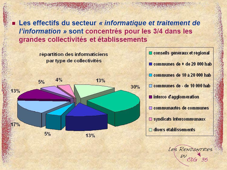 Les effectifs du secteur « informatique et traitement de linformation » sont concentrés pour les 3/4 dans les grandes collectivités et établissements