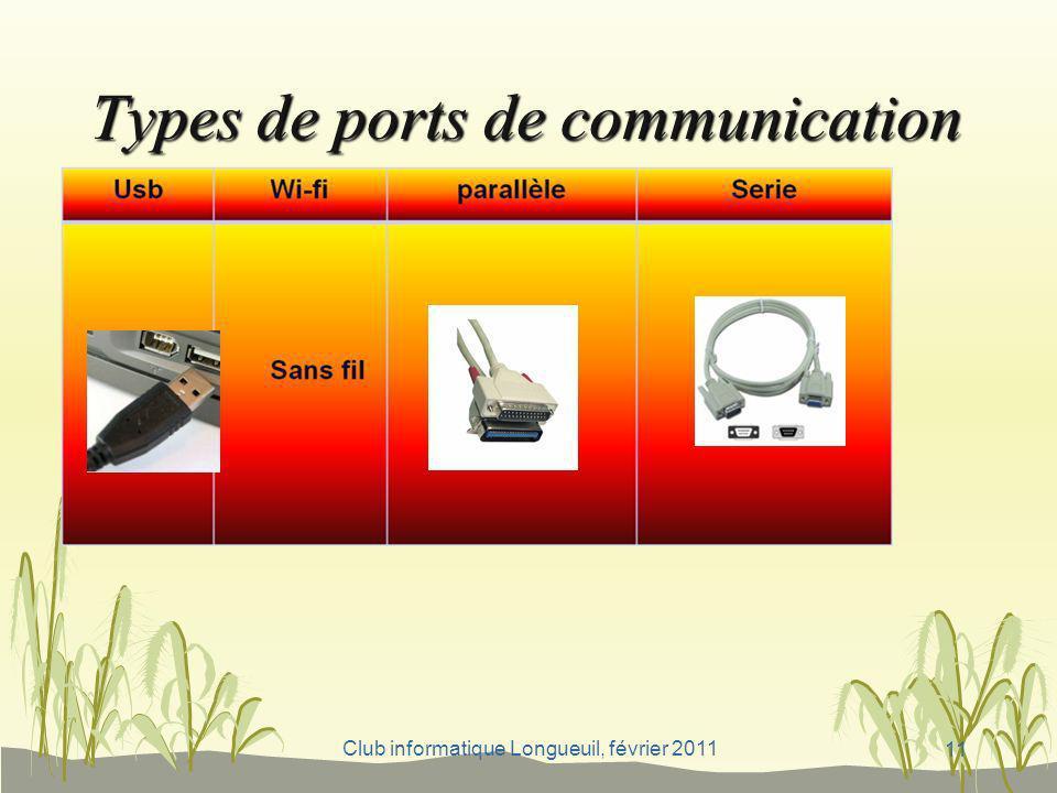 Club informatique Longueuil, février 2011 Types de ports de communication, 11