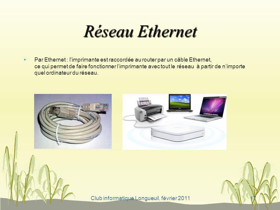 Club informatique Longueuil, février 2011 Réseau Ethernet Par Ethernet : l'imprimante est raccordée au router par un câble Ethernet, ce qui permet de