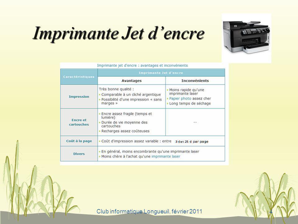 Club informatique Longueuil, février 2011 Fonction 4: Fax En général, il s agit de la fonction la moins répandue dans une imprimante multifonction, car plutôt considérée comme un usage professionnel.