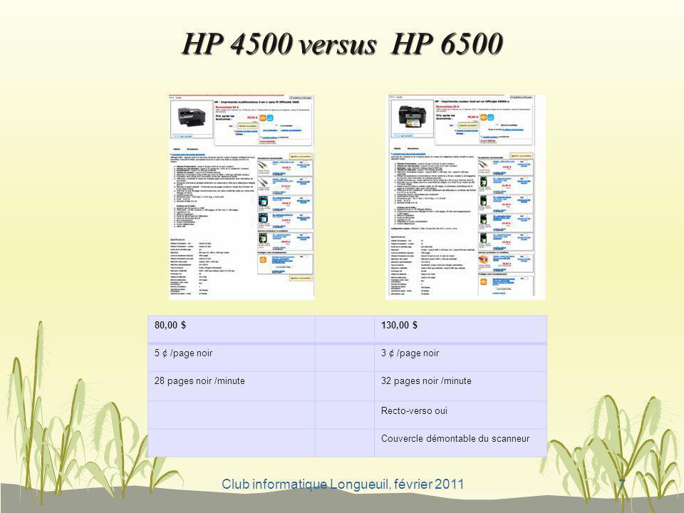 Club informatique Longueuil, février 2011 HP 4500 versus HP 6500 7 80,00 $130,00 $ 5 ¢ /page noir3 ¢ /page noir 28 pages noir /minute32 pages noir /mi