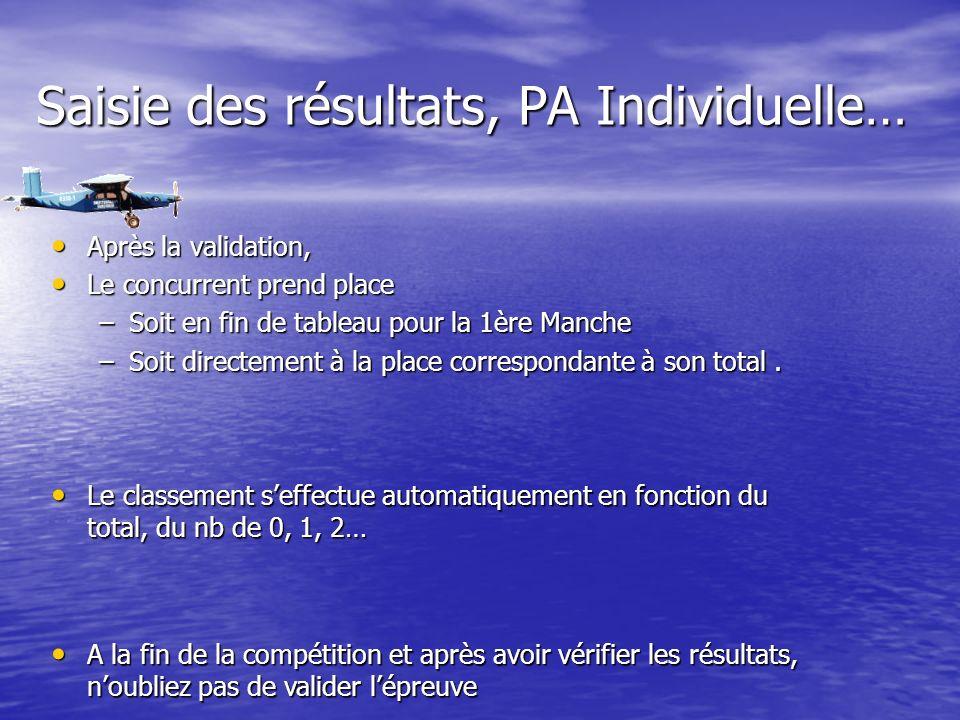 Saisie des résultats, PA Individuelle… Après la validation, Après la validation, Le concurrent prend place Le concurrent prend place –Soit en fin de tableau pour la 1ère Manche –Soit directement à la place correspondante à son total.