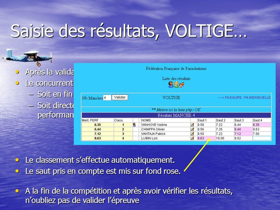 Saisie des résultats, VOLTIGE… Après la validation, Après la validation, Le concurrent prend place Le concurrent prend place –Soit en fin de tableau pour la 1ère Manche –Soit directement à la place correspondante à sa meilleure performance.