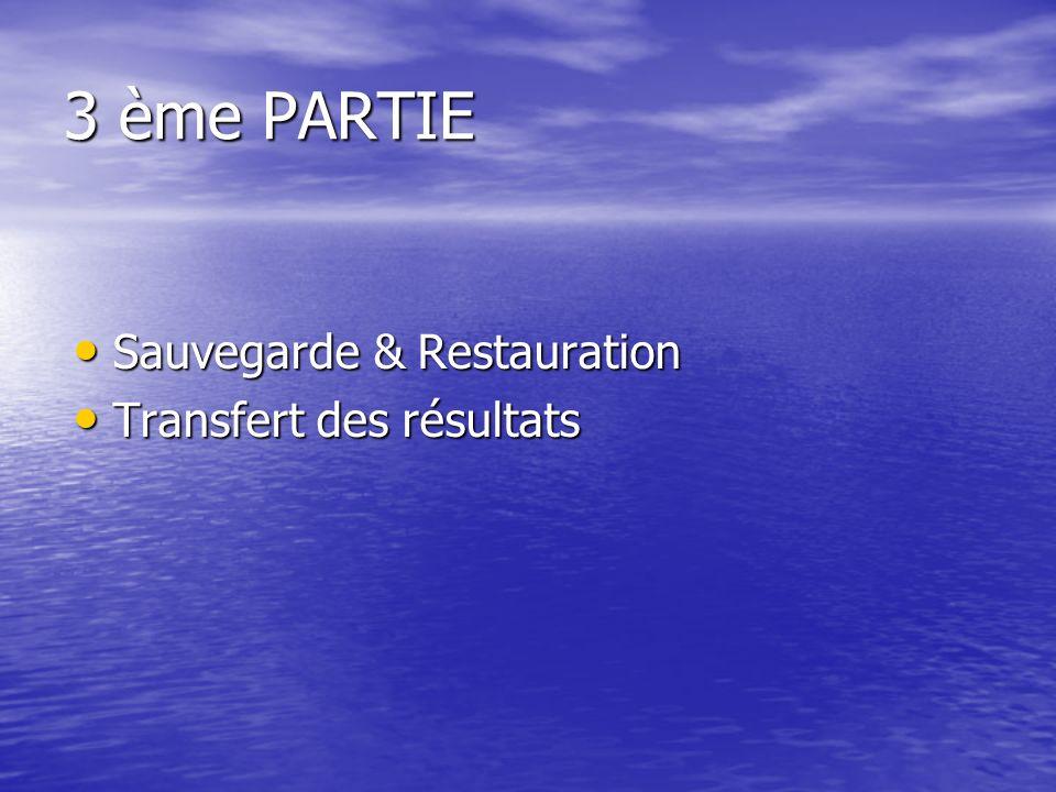 3 ème PARTIE Sauvegarde & Restauration Sauvegarde & Restauration Transfert des résultats Transfert des résultats