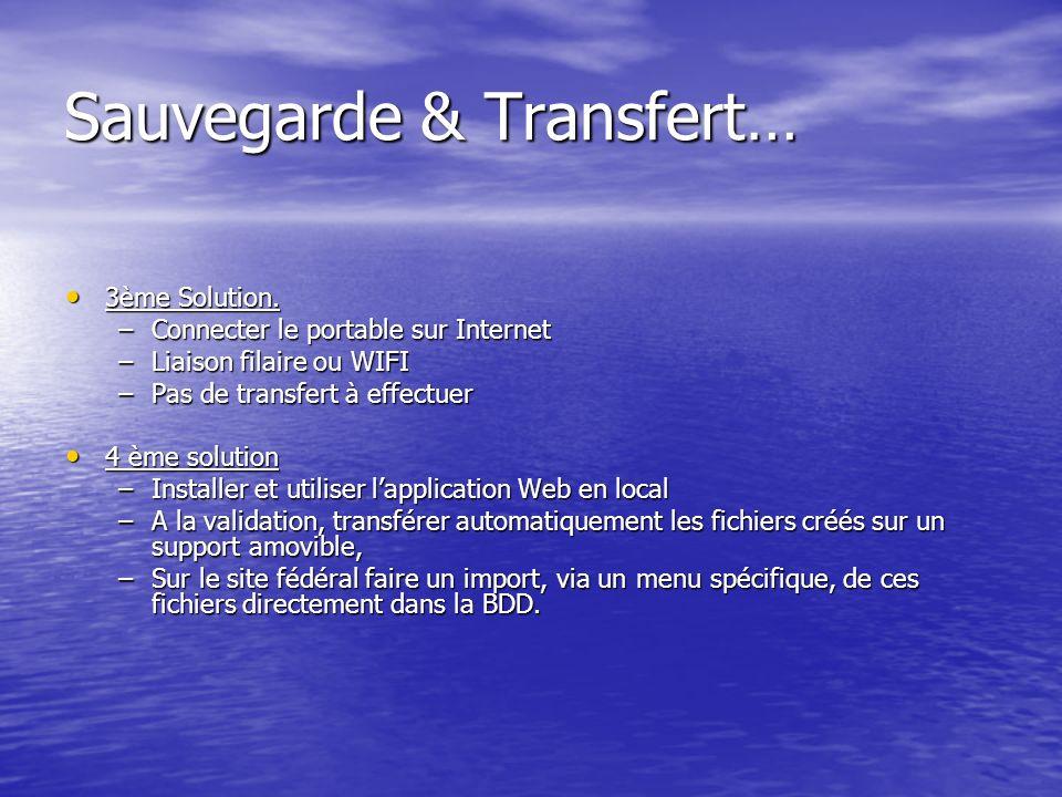 Sauvegarde & Transfert… 3ème Solution. 3ème Solution.